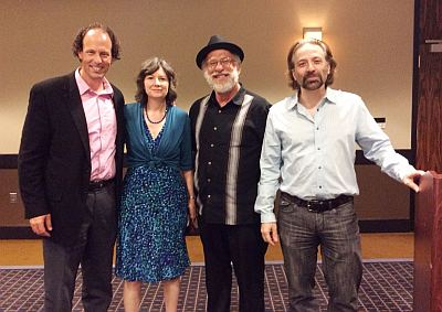 At Deadly Ink 2015, left to right, Brad Parks, Guest of Honor; me, Toastmaster; and Jeff Markowitz and Steve Rigolosi, who tied for the David Award for Best Mystery of 2015.