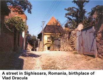 A street in Sighisoara, Romania, birthplace of Vlad Dracula